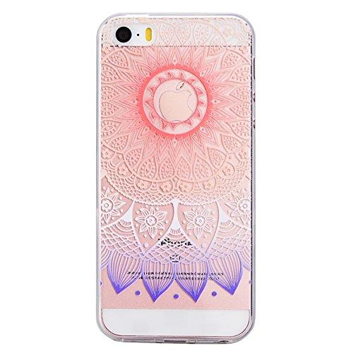 iPhone 5 / 5S / SE Hülle, Yokata TPU Silikon Weich Cover Durchsichtig mit Gradient Mandala Tribal Muster Case 1 x Kapazitive Feder Lila