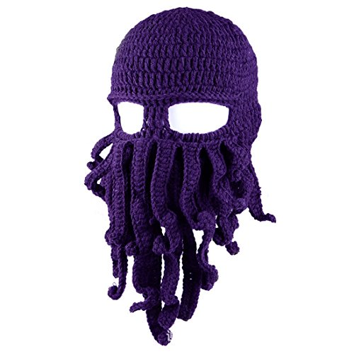 Strickmütze Winter Warm Winddicht Outdoor-Aktivitäten Mode-Stil Hut,Lila (Hüte Mit Bärten)
