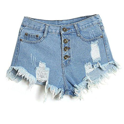 NINGSANJIN Damen High-Waist taillierte Lose Jeans-Kurzschluss-Jeans-heiße Denim Lochjeans Shorts Hot Pants Sexy Sommer Strand-Hosen (Himmelblau, L)