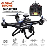 Drone RC,Global drone X183 5GHz RC drone WiFi FPV 1080p caméra GPS hélicoptère RC drone Quadcopter by LHWY (noir 1)