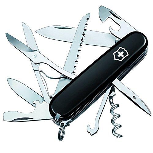 Victorinox Huntsman Taschenmesser, 15 Funktionen, Schere, Holzsäge, Korkenzieher, schwarz B1 -