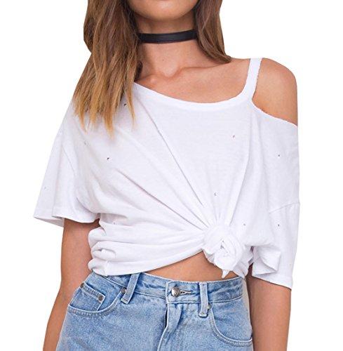 Damen Oberteile Mode Trägerlose Kurze Ärmel Hemden Freizeit Tops Einfarbig T-shirt Weiß