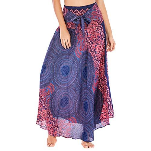 Geilisungren Damen Bohemian Maxi Rock Hippie Gypsy Boho Kleid Ethnisch Stil Blumendruck Hohe Taille Lange Röcke Frauen Elegante Rayon Festliche Halterrock Strandkleider Sommerkleid (Frauen Weiße Seide Hose)
