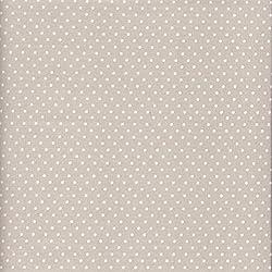 Tela beige-gris claro perlado y blanco - Lunares - 100% algodón suave | ancho: 140cm (1 metro)