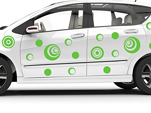 GRAZDesign 740175_57_090G Auto Aufkleber Autoaufkleber Tuning Sticker Set Retro Kreise 70er Jahre (57x57cm//090 silbergrau)