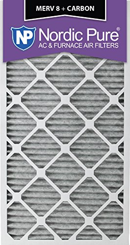 """Nordic Pure 24x30x1PM8C-6 Pleated MERV 8 Plus Carbon AC Furnace Filters (6 Pack), 24 x 30 x 1"""""""