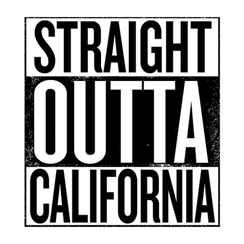 Black Text Straight Outta California US States Women's Hooded Sweatshirt White