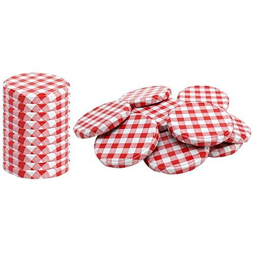 COM-FOUR® 20x couvercle de rechange, rouge/blanc à carreaux, couvercle pour bocaux, pots de confiture, bocaux, To 82 mm (020 pièces - damier rouge/blanc)