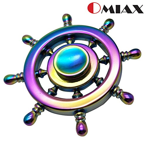 OMIAX Fidget Spinner Rainbow Pirate Sailor Wheel 8 Sided Multicolored Toy, Premium Aluminium Alloy Metal with Ultra Durable High Speed Steel Bearings, comes with Gift Box