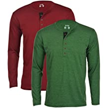 Aarbee Men's Cotton Full Sleeve Henley T-Shirt - Combo of 2 in 11 vibrant colors