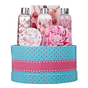 6 Piece Ladies Love and Sunshine Body & Bath Round Box Gift Set – Includes Shower Gel, Bubble Bath, Body Lotion, Body…