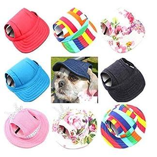 JUYUAN-EU Dog Hats with Canvas Baseball Cap for Dog Sun Hat Teddy Outdoor Hats for Dog Hat Ear Hole 6