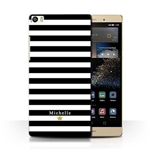 Personalisiert Individuell Streifen/Gestreift Hülle für Huawei P8 Max/Schwarz Streifenstern Design/Initiale/Name/Text Schutzhülle/Case/Etui