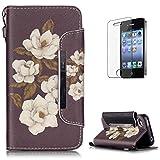 KaseHom Compatible with Case iPhone 4/4S Wallet Funda Carcasa Libro PU Premium Choque Absorción Leather Flip Case Cover Fuerte Cierre Magnético Función de Soporte Billetera - Flor Blanca