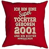 Mega-Shirt zum 18. Geburtstag Geschenkidee Polster Kissen mit Füllung super Tochter geboren 2001 Polster zum 18. Geburtstag für 18-jähirge Dekokissen