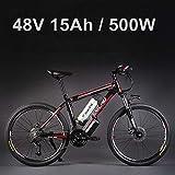26 'vélo électrique d'alliage d'aluminium de batterie au lithium 48V 500W, vélo électrique de 27 vitesses, VTT / vélo de montagne, adoptent des freins à disque d'huile (15Ah Noir rouge)
