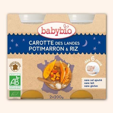 Babybio - Bonne Nuit Carotte, potimarron, riz, dès 6 mois, certifié AB Les 2 pots 200g( Prix Unitaire ) - Envoi Rapide Et Soignée