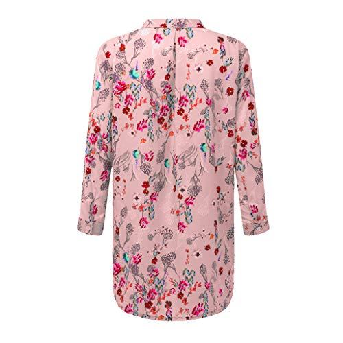 Masoness ShirtFrauen Stehkragen Druck Plus Größe mit Langen Ärmeln Tops lose Strickjacke Bluse,Gestreiftes,Langärmliges Cardigan-Hemd mit Stehkragen für Damen -
