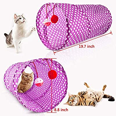 HODESU 29Pcs Cat Toys Kitten Toys Assortments, Cat Tunnel Feather Teaser Wand Fish Fluffy Mouse Mice Balls and Bells Toys for Cat Puppy Kitty with Storage Bag from HODESU