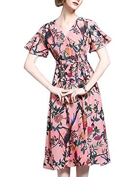 HJMTRY Señora Silk Printing Big Pendulums elegante falda larga de vacaciones , pink , s