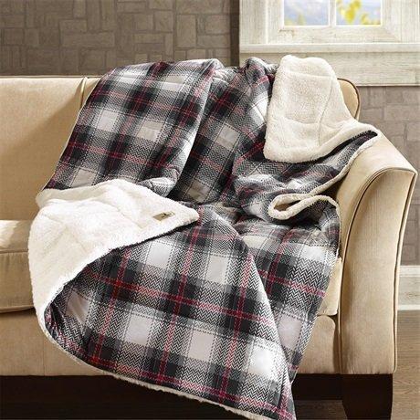Woolrich, Inc. Ridley Softspun Down Alternative Übergroße Überwurf Decke, 127x 177,8cm schwarz Woolrich Throw