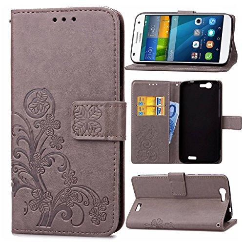 pinlu Schutzhülle Für Huawei Ascend G7 (5.5zoll) Handyhülle Hohe Qualität PU Ledertasche Brieftasche Mit Stand Function Innenschlitzen Design Glücklich Klee Muster Grau