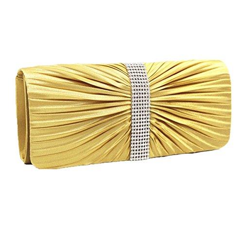 Moda Pieghe Borsette Da Sera Cristalli Strass Borsa Portafoglio Multicolore Yellow