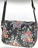 Casual Stylish Floral - Amelia Rose London® - Crossbody messenger shoulder canvas Bag - Satchel Flower Vintage Design for All small Girl, lady. & women (Black)