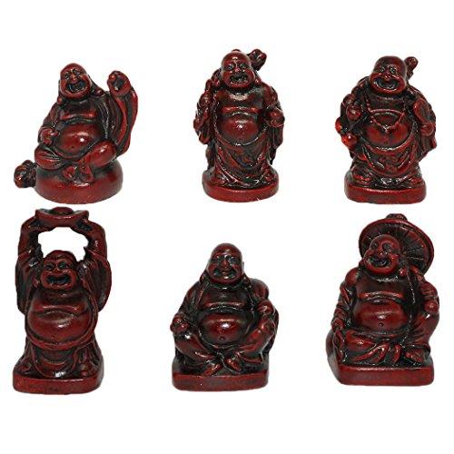 6pcs resina Estatua Figuras De Buda Estatua de Buddha sonriente sonriente Lucky BUDA BUDA Feng Shui Buda Buddha sonriente Juego de 6BS001