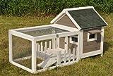 nanook clapier cage lapin en bois Félix avec enclos et terrasse - gris blanc - Taille XL 143 x 74 x 82 cm (LxLxH)