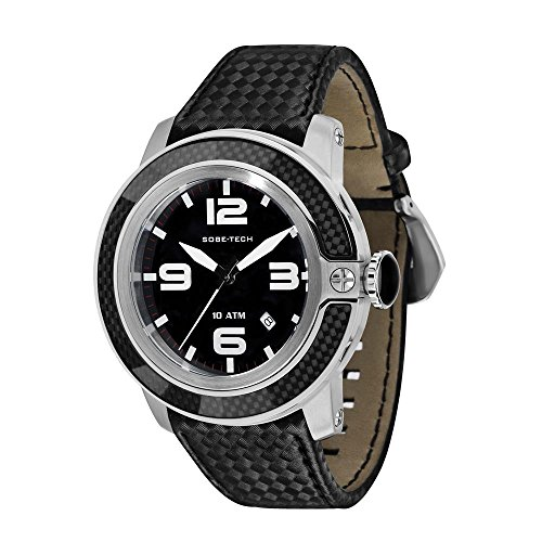 Glam Rock Men's Sobe Tech 50mm Black Silicone Band Steel Case Swiss Quartz Analog Watch GR33009N