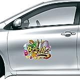 DIYthinker Fussball Oscar Niemeyer Brasilien Graffiti-Auto-Aufkleber auf Auto-Styling Aufkleber Motorrad-Aufkleber für Auto-Zubehör Geschenk 10Cm