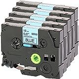 5x Casete de Cinta para Brother TZe -531 12mm negro sobre azul 12mm de ancho x 8 m de longitud compatible con TZ531 por ejemplo P -Touch 1000 W