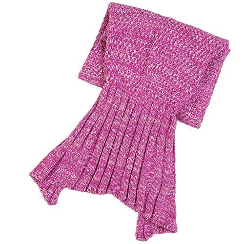 NHsunray Sirena del Coda Coperta, Lavorato a Maglia Crochet Quilt Tappeto Avvolgere in Divano del Soggiorno per Adulti e Bambini Tutte le Stagioni Sacco a Pelo (70,8