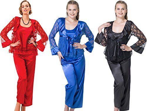 stylenmore - Ensemble de pyjama - Kimono - Uni - Femme Bleu - Bleu