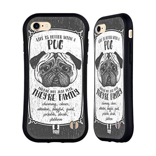 Head Case Designs Deutscher Schäferhund Hunderasse Handgezeichnet Hybrid Hülle für Apple iPhone 5 / 5s / SE Mops