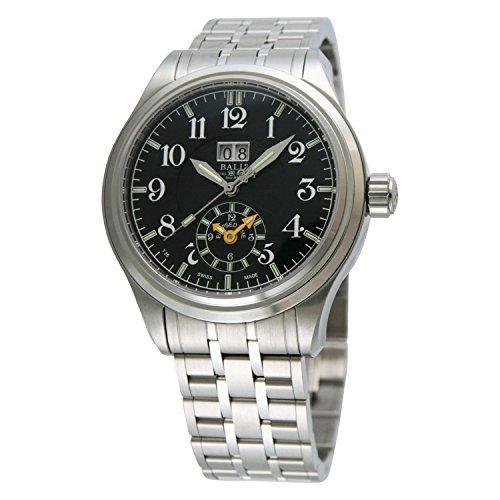 Boule [montre] Ball Watch Montre train Master Dual Time Cadran noir en acier inoxydable étanche à 50m pour homme Gm1056d-sj-bk Parallel Import Goods]