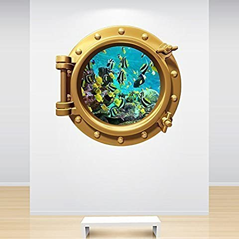 Full Colour Aquarium Fish Tank Brass Gold Porthole Decal Under the Sea Ocean Marine Wall Sticker Kids Bedroom Decoration