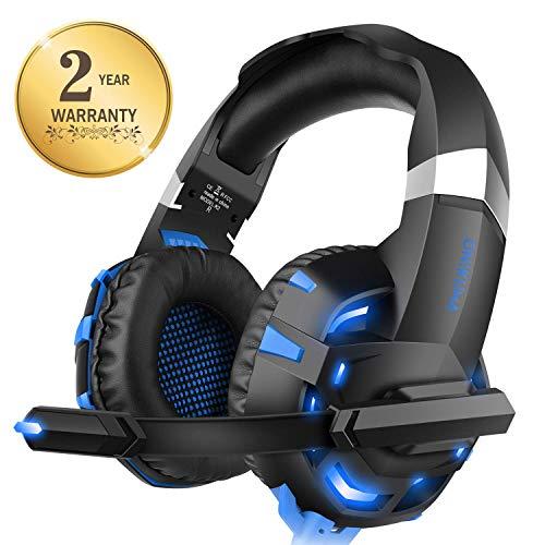 WILLNORN Gaming Headset für PS4 PC Xbox One,Professional Stereo Sound Kopfhörer LED Licht mit Mikrofon für Laptop Mac Handy Tablet (Blau)