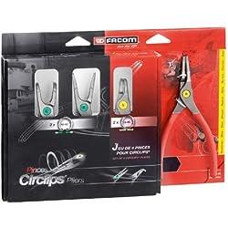 Facom - PCJ4PB_21155 - 4 Pinces pour circlips intérieur-extérieur 18-60mm PCJ4PB - Identification rapide grce au code couleur.