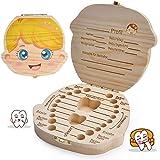 LATTCURE Zahnbox Holz Milchzähne Box, Milchzahndose aus Holz zur Deutsch Wort Milchzahnbox für Jungen Mädchen Souvenir Box Weihnachten Geschenk