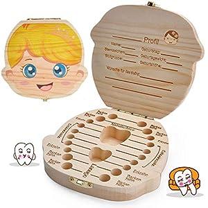 LATTCURE Zahnbox Holz Milchzähne Box, Milchzahndose aus Holz zur Deutsch Wort Milchzahnbox für Jungen Mädchen Souvenir…