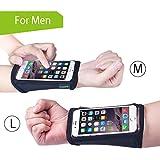 Avantree Brassard au poignet pour iPhone 6 / 6S avec film tactile (Lot de 2 tailles, M+L), format Bracelet, Brassard de course avec Rangement pour clés et monnaie, pour Fitness, Gym, Sports