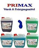 5 x 5 Liter Primax Flüssigwaschmittel 2 xgrün 2x blau 1 x Blackwash mit Ausgießer
