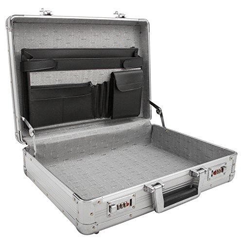 Attache-Koffer, Aktenkoffer mit Zahlenschloss aus Alu passend für DIN A4 Ordner - 201603 (Attache Aktenkoffer)