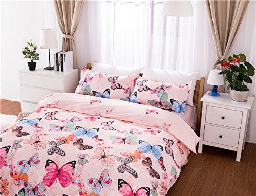 AShanlan Mädchen Rosa Bettwäsche Schmetterling 135 x 200 Kinderbettwäsche Pink Bunt Butterfly 100% Mikrofaser Kinder Bettbezug mit Kissenbezug 80x80 -