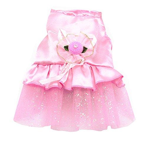 Vividda Pet Hund Kleidung Hochzeit Kostüm Satin Formelle Kleid Tutu für kleine Hunde, Welpen, Katzen XX-Small Rose (Xx Kleine Hund Kleidung)