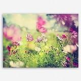 ge Bildet® Hochwertiges Leinwandbild Pflanzen Bilder - Frühling - Blumen Natur Wiese rosa pink bunt - 70 x 50 cm einteilig | Wanddeko Wandbild Wandbilder Wohnzimmer deko Bild | 2206 L