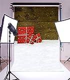 YongFoto 1x1,5m Foto Hintergrund Weihnachten Vinyl Schneebedeckter Boden Holzwand Rote Geschenkbox Schneeflocken Fotografie Hintergrund Foto Leinwand Kinder Fotostudio 100x150cm