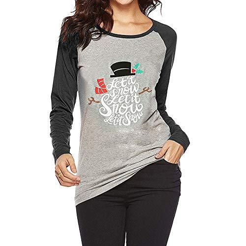 Preisvergleich Produktbild Tianwlio Damen Lässige Langarmshirt Hoodie Pullover Mode Weihnachten Schneemann T-Shirt Bluse Tops mit Sieben Vierteln Gedruckt Blusen Schwarz S